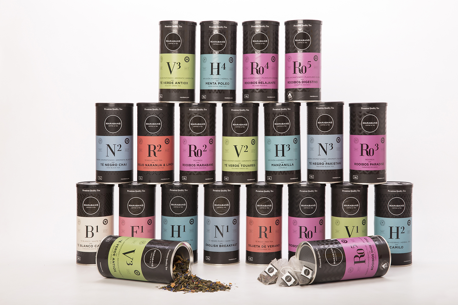 Marabans UK premium range of tea packaging